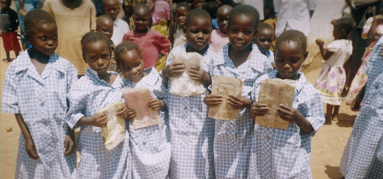Young girls wearing donated schools uniforms